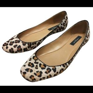 Ann Taylor Loft leopard calf hair ballerina flats